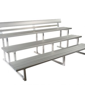 3 Tier x 2mtr Double Plank Spectator Seating with Back Rest 1