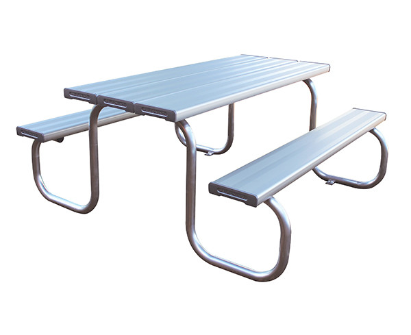 Aluminum bench and table setting.
