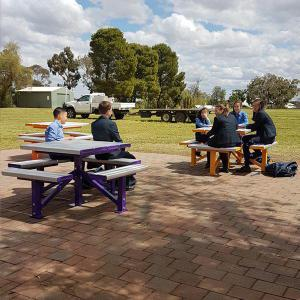 Felton 4-Sided Pedestal Park Setting at Condobolin Public School Pedestal Park Setting