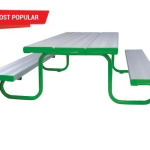 An aluminum bench and table setting with green end caps.