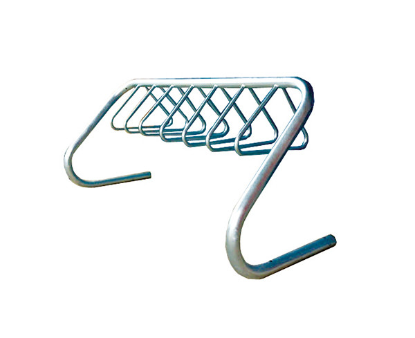 A stainless steel bike hanger.